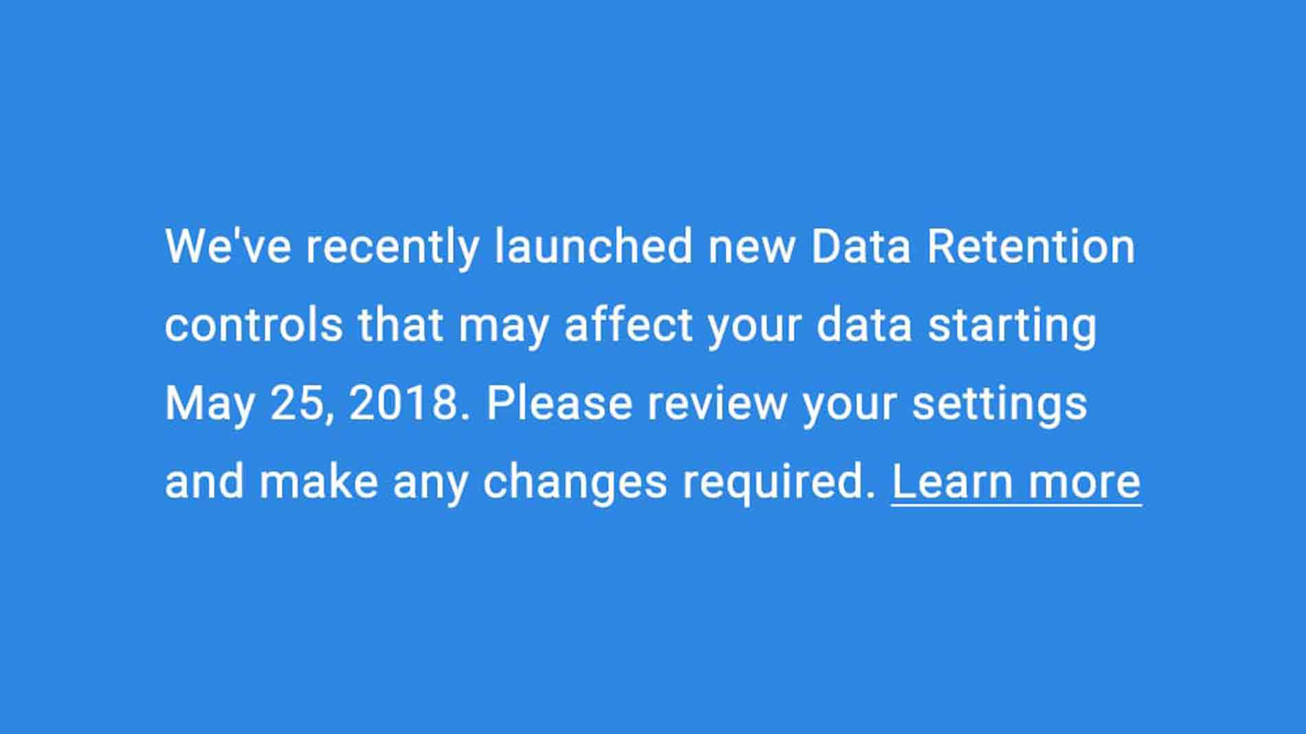 analytics data retention controls announcement