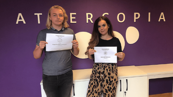 Amber and Sean with their Google Certificates.
