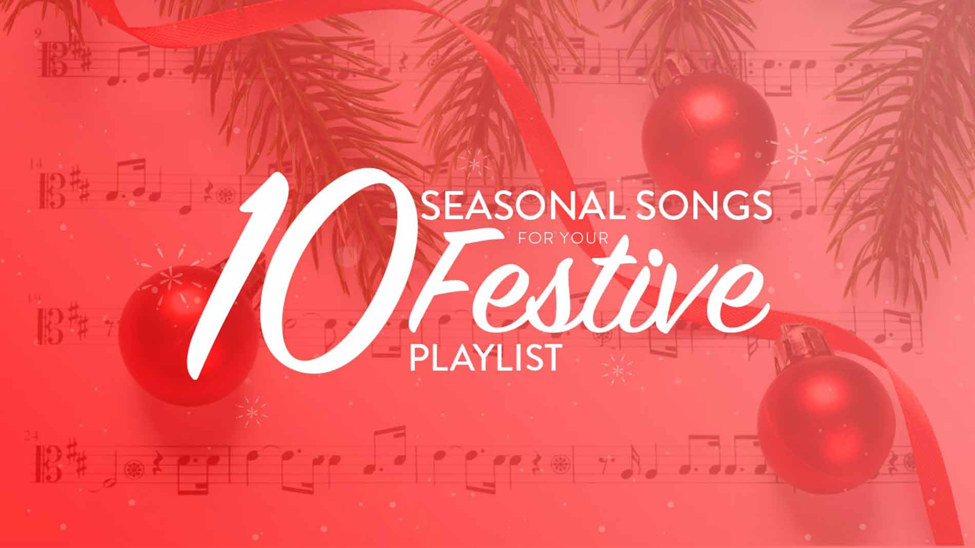 10 Christmas songs on red background.